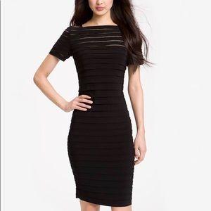Black Illusion Banded Cocktail Dress